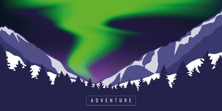 green polar lights adventure in snowy mountain vector illustration EPS10