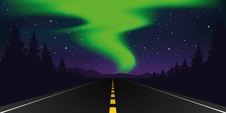 straight paved road with forest and mountain landscape and polar lights vector illustration EPS10