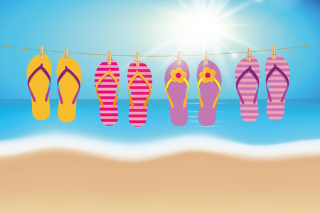 colorful flip flops hang on a rope on the beach summer vacation vector illustration EPS10 Illustration