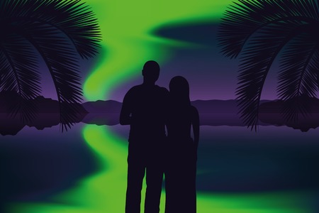 couple in love enjoys the view of the polar lights on the beach vector illustration EPS10