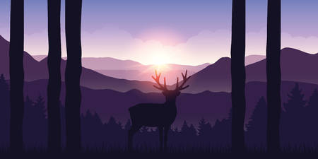 lonely elk in the mountains purple landscape at sunrise vector illustration EPS10 Stock Vector - 124768673
