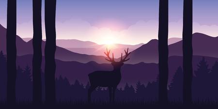 lonely elk in the mountains purple landscape at sunrise vector illustration EPS10