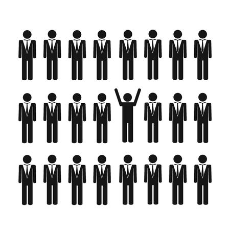 unique man in a group think different concept vector illustration EPS10