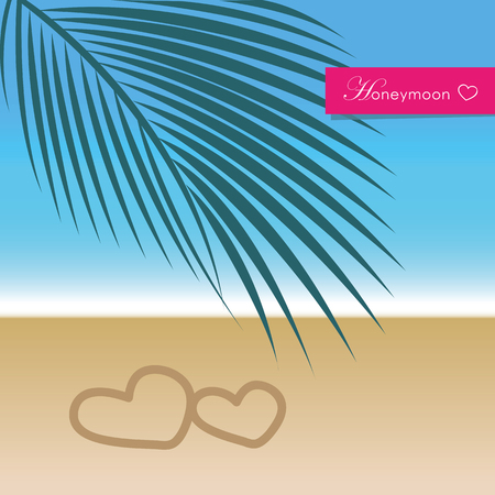 honeymoon travel concept paradise palm beach holiday vector illustration EPS10 Banque d'images - 120364247