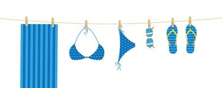 blue beach items hang on a linen towel bikini sunglasses and flip flops vector illustration EPS10 Ilustrace