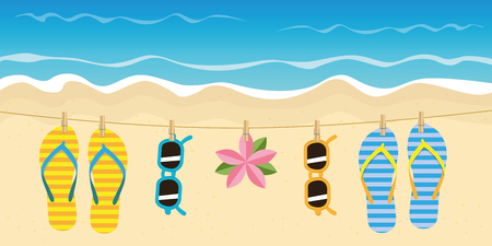 striped flip flops and sunglasses hang on a rope on the beach vector illustration EPS10