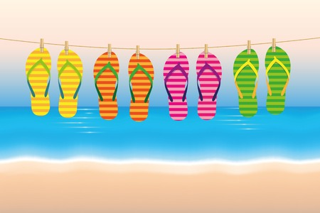 summer holiday striped flip flops hang on a leash on the beach vector illustration EPS10 Illustration