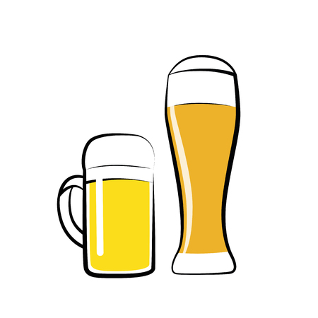 a glass of pils and wheat beer isolated on a white background vector illustration EPS10