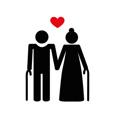 grandparents old couple pictogram vector illustration EPS10