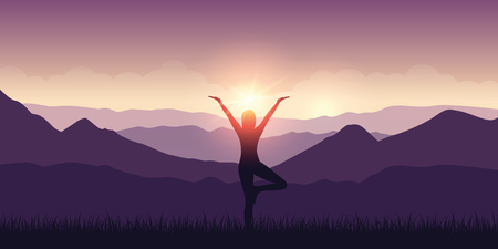 girl makes yoga with mountain view purple landscape and sunshine vector illustration EPS10