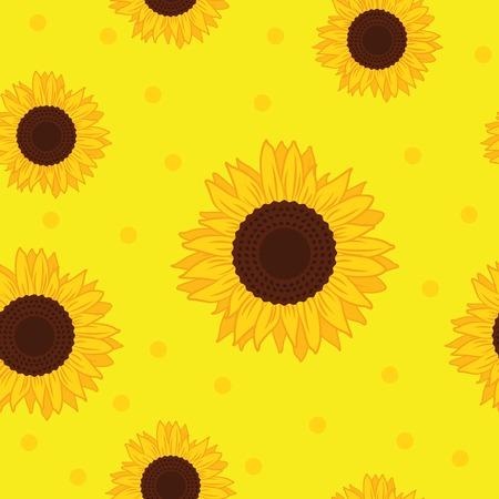 seamless pattern yellow sunflower background vector illustration EPS10  イラスト・ベクター素材