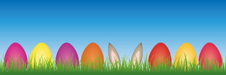hare ears in the meadow between colorful Easter eggs vector illustration EPS10