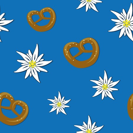 seamless pattern edelweiss flower and pretzel on blue background vector illustration EPS10
