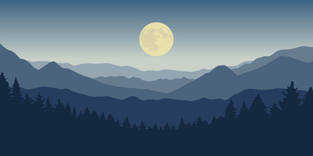 blue mountain and forest landscape at night with full moon vector illustration EPS10