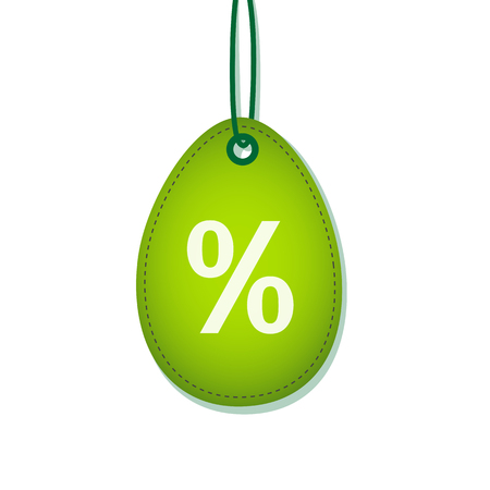 green hanging easter egg label with percent symbol for sale promotion isolated on white background vector illustration EPS10