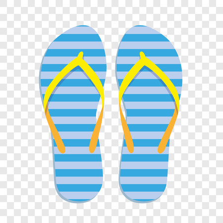 blue and yellow striped flip flops isolated vector illustration EPS10 Vetores