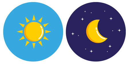 sun and moon in circle day and night concept vector illustration EPS10 Vector Illustratie