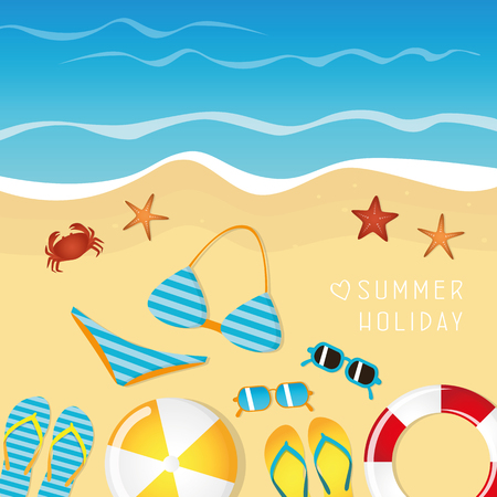different beach utensils summer holiday background with flip flops sunglasses bikini crab and starfish vector illustration EPS10