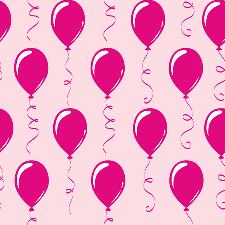 seamless pattern pink party balloons vector illustration EPS10