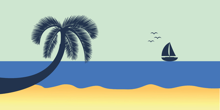 blue sea with yacht marine nature landscape with sailboat and palm leaf vector illustration