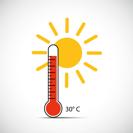 heat thermometer icon 30 degrees summer weather with sunshine vector illustration EPS10 写真素材 - 124557618