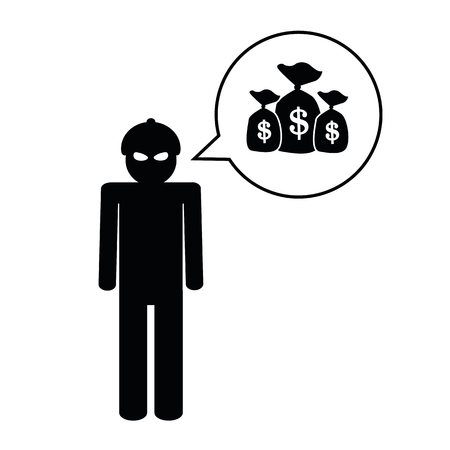 thief thinks about a lot of money pictogram vector illustration EPS10