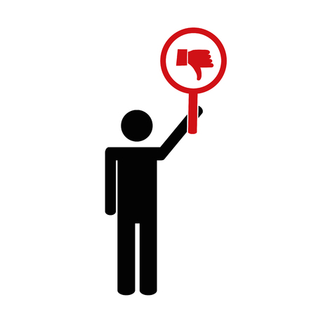 person with thumb down sign pictogram vector illustration EPS10