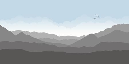 paesaggio di montagna con illustrazione vettoriale di cielo nuvoloso EPS10