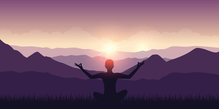 peaceful meditation with mountain view purple landscape and sunshine vector illustration EPS10