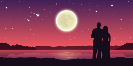 romantic night couple in love at the lake with full moon and falling stars vector illustration EPS10 Vektoros illusztráció