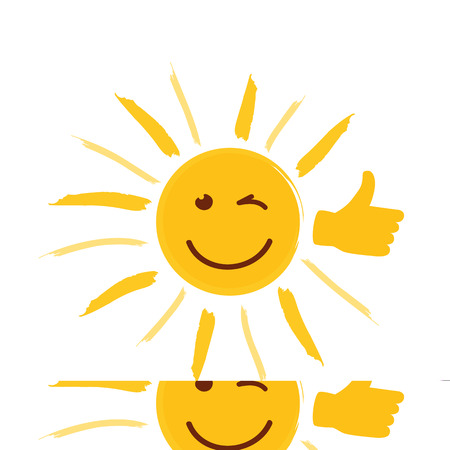 smiling yellow sun with thumb up and happy face vector illustration EPS10