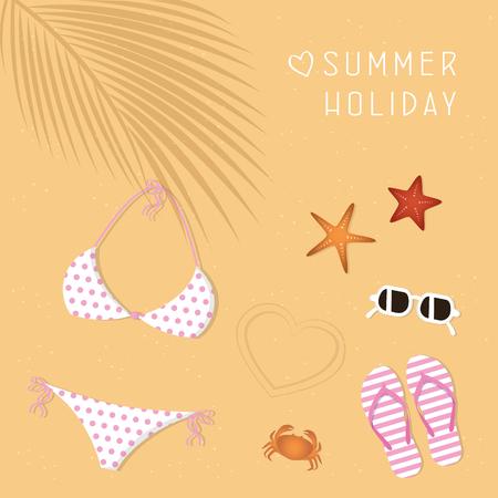 bikini sunglasses flip flops starfish and crab summer holiday design vector illustration EPS10 Archivio Fotografico - 120364331