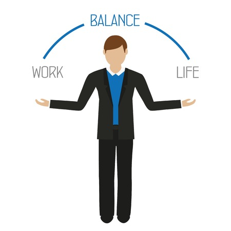 work life balance business man character isolated on white background vector illustration EPS10