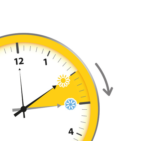 clock summer time change with sun and snowflake vector illustration EPS10 Vector Illustration