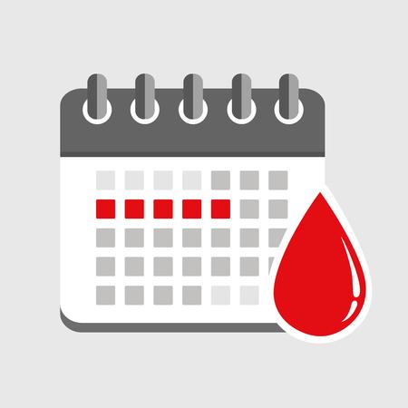 menstruation calendar red signs of menstrual cycle vector illustration EPS10