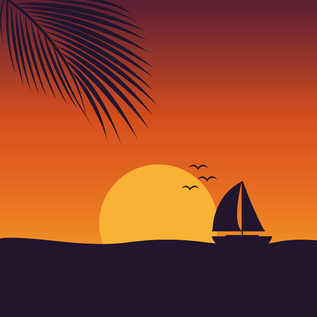 sunset at sea with yacht marine nature landscape with sailboat and palm leaf vector illustration Illustration
