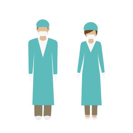 man and woman character surgeon in green lab coat isolated on white background vector illustration EPS10