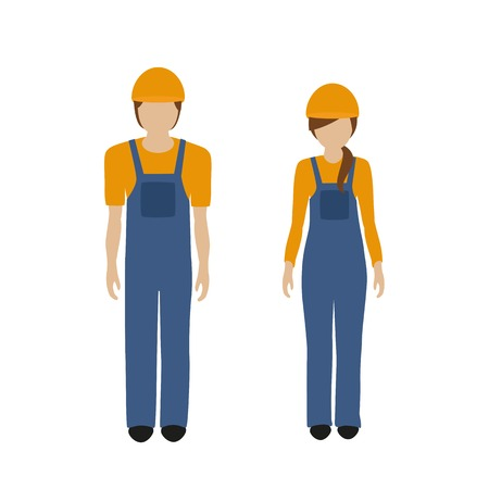 man and woman character construction worker in boiler suit isolated on white background vector illustration EPS10