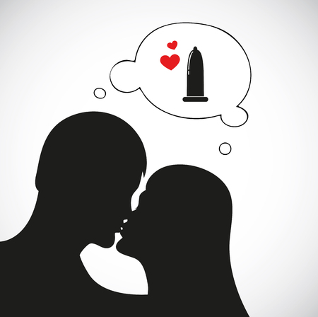 couple in love think about comdom safety sex vector illustration