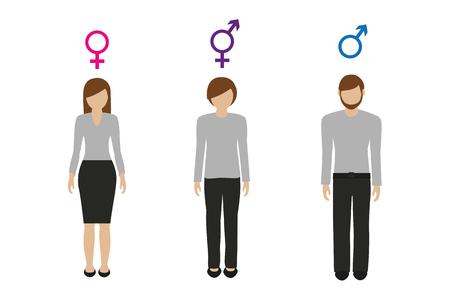 Caractères de genre féminin masculin et neutre vector illustration EPS10