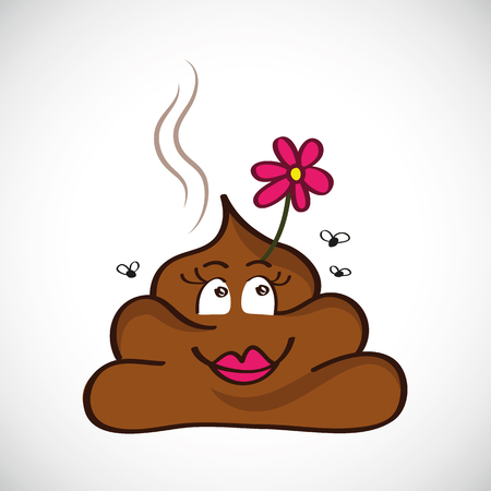 illustration of cute poop with happy face and pink fower vector Vektorové ilustrace