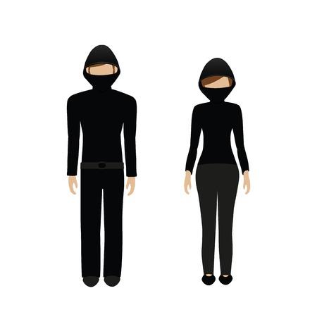 man and woman character masked burglar isolated on white background vector illustration EPS10 Çizim