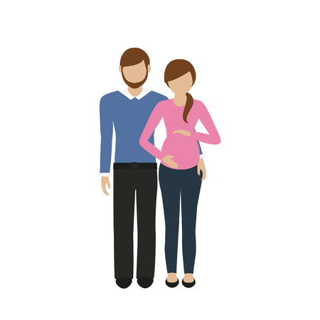 man and woman character husband hugs his pregnant wife isolated on white background vector illustration EPS10 Illustration