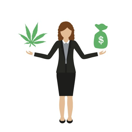 business woman character makes money with cannabis isolated on white background