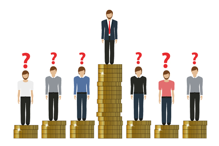 gap between rich and poor work finance concept with coins