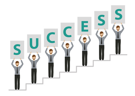 people on success stairs business men character