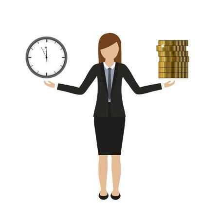 concepto de negocio sobre tiempo y dinero personaje de mujer de negocios