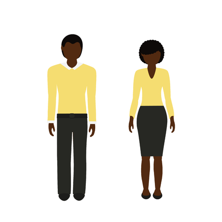man and woman character with dark skin color and black hair african isolated on white background vector illustration EPS10