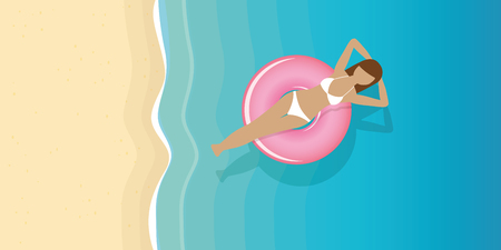 young woman in a swimming ring on the water on the beach vector illustration EPS10 Çizim