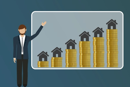 business man explains rising real estate prices finance concept vector illustration EPS10 Ilustração